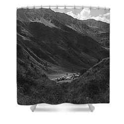 Hugged By The Mountains Shower Curtain