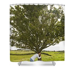 Shower Curtain featuring the photograph Hugging The Fairy Tree In Ireland by Ian Middleton
