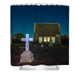 Shower Curtain featuring the photograph Hughes Children At Riverside Cemetery by Stephen  Johnson