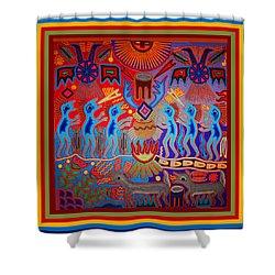 Shower Curtain featuring the digital art Huichol Tribal Fire Ritual by Vagabond Folk Art - Virginia Vivier