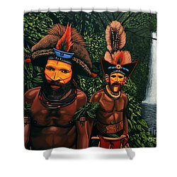 Huli Men In The Jungle Of Papua New Guinea Shower Curtain by Paul Meijering