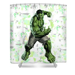 Shower Curtain featuring the mixed media Hulk Splash Super Hero Series by Movie Poster Prints