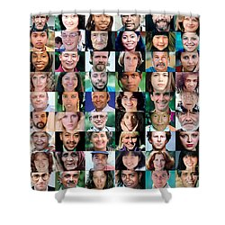 Human Faces In A Grid Shower Curtain by Wernher Krutein