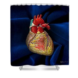 Human Heart Over Blue Velvet Shower Curtain
