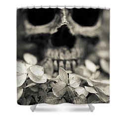 Shower Curtain featuring the photograph Human Skull Among Flowers by Edward Fielding