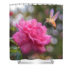 Hummer In The Garden Shower Curtain by Kenny Francis