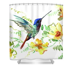 Hummibgbird And Yellow Flowers Shower Curtain