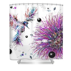 Shower Curtain featuring the digital art Humming Bird And Flower by Darren Cannell