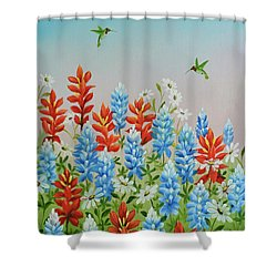 Shower Curtain featuring the painting Humming Birds Feeding On Wildflowers by Jimmie Bartlett