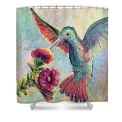 Shower Curtain featuring the painting Humming Jewel by Lisa DuBois