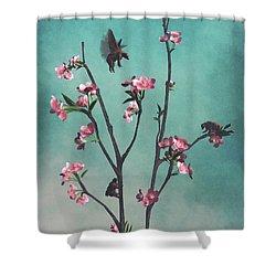 Hummingbears Shower Curtain by Cynthia Decker