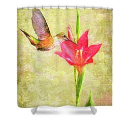 Shower Curtain featuring the digital art Hummingbird And Flower by Christina Lihani