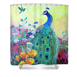 Shower Curtain featuring the painting Hummingbird And Peacock by Robin Maria Pedrero