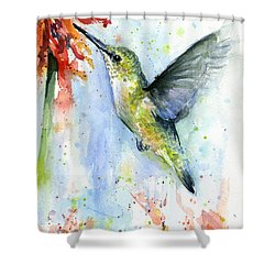 Hummingbird And Red Flower Watercolor Shower Curtain by Olga Shvartsur