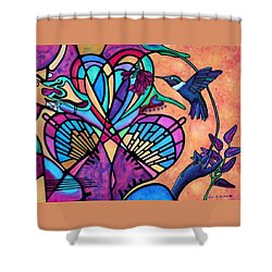 Shower Curtain featuring the painting Hummingbird And Stained Glass Hearts by Lori Miller
