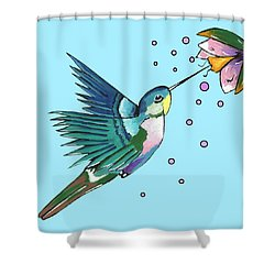 Hummingbird Blue Shower Curtain