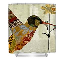 Hummingbird Brocade IIi Shower Curtain by Mindy Sommers
