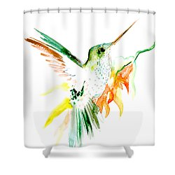 Hummingbird Green Orange Red Shower Curtain