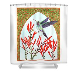 Hummingbird In Opening Shower Curtain by Lise Winne
