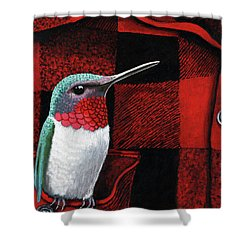 Shower Curtain featuring the painting Hummingbird Memories by Linda Apple