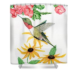Shower Curtain featuring the painting Hummingbird by Peggy A Borel