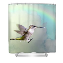 Hummingbird Under Rainbow Shower Curtain by Bonnie Barry