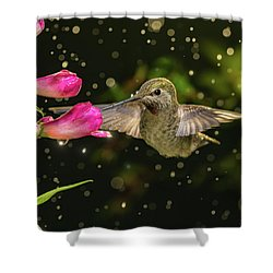 Shower Curtain featuring the photograph Hummingbird Visits Flowers In Raining Day by William Lee