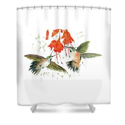 Hummingbird Watercolor Shower Curtain