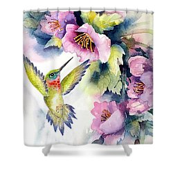 Hummingbird With Pink Flowers Shower Curtain