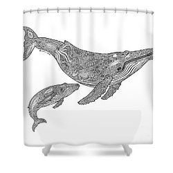 Humpback And Calf Shower Curtain by Carol Lynne