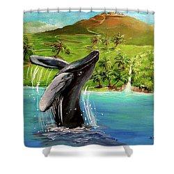 Humpback Whale Breaching At Haleakala Hawaii Shower Curtain