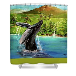 Shower Curtain featuring the painting Humpback Whale Breaching At Haleakala Hawaii by Bernadette Krupa