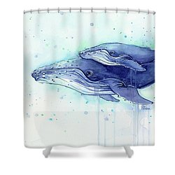 Humpback Whale Mom And Baby Watercolor Shower Curtain by Olga Shvartsur