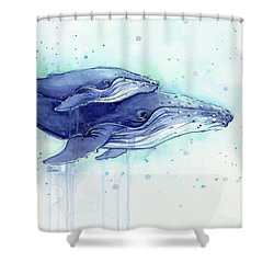 Humpback Whales Mom And Baby Watercolor Painting - Facing Right Shower Curtain by Olga Shvartsur