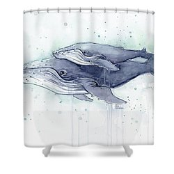 Humpback Whales Painting Watercolor - Grayish Version Shower Curtain by Olga Shvartsur
