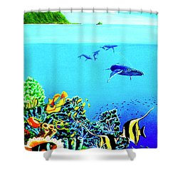 Humpback Whales, Reef Fish #252 Shower Curtain by Donald k Hall