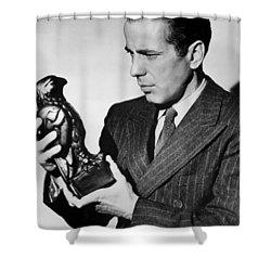 Humphrey Bogart Holding Falcon The Maltese Falcon 1941  Shower Curtain