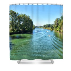 Humpy Day On The River Shower Curtain
