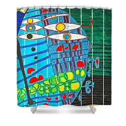 Hundertwasser Blue Moon Atlantis Escape To Outer Space In 3d By J.j.b Shower Curtain