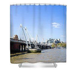 Shower Curtain featuring the photograph Hungerford Bridge And Golden Jubilee Bridges by Stewart Marsden