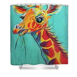 Hungry Giraffe Shower Curtain by Susan DeLain