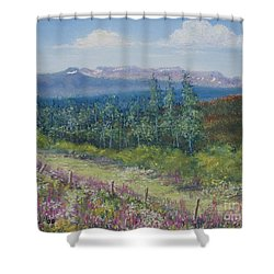 Summer Flowers On Hungry Hill Shower Curtain by Stanza Widen