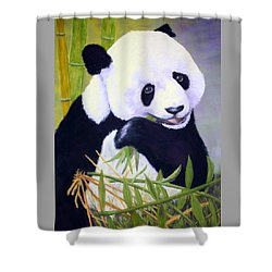 Shower Curtain featuring the painting Hungry Panda by Nancy Jolley