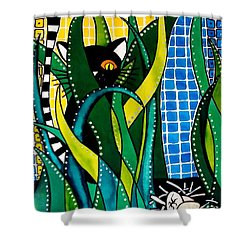 Hunter In Camouflage - Cat Art By Dora Hathazi Mendes Shower Curtain by Dora Hathazi Mendes