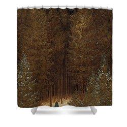 Hunter In The Forest  Shower Curtain by Caspar David Friedrich