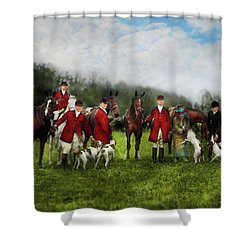 Shower Curtain featuring the photograph Hunter - The Fox Hunt - Tally-ho 1924 by Mike Savad