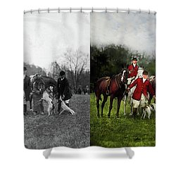 Shower Curtain featuring the photograph Hunter - The Fox Hunt - Tally-ho 1924 - Side By Side by Mike Savad