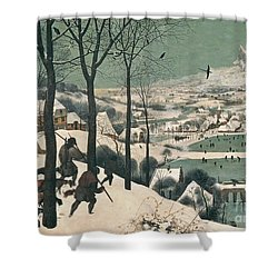 Hunters In The Snow Shower Curtain by Pieter the Elder Bruegel