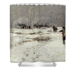 Hunting In The Snow Shower Curtain by Hugo Muhlig