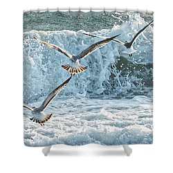 Hunting The Waves Shower Curtain